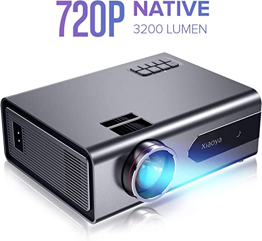 XIAOYA T8 Mini Projector, Native 720P Portable Movie Projector with 3200 Lumen