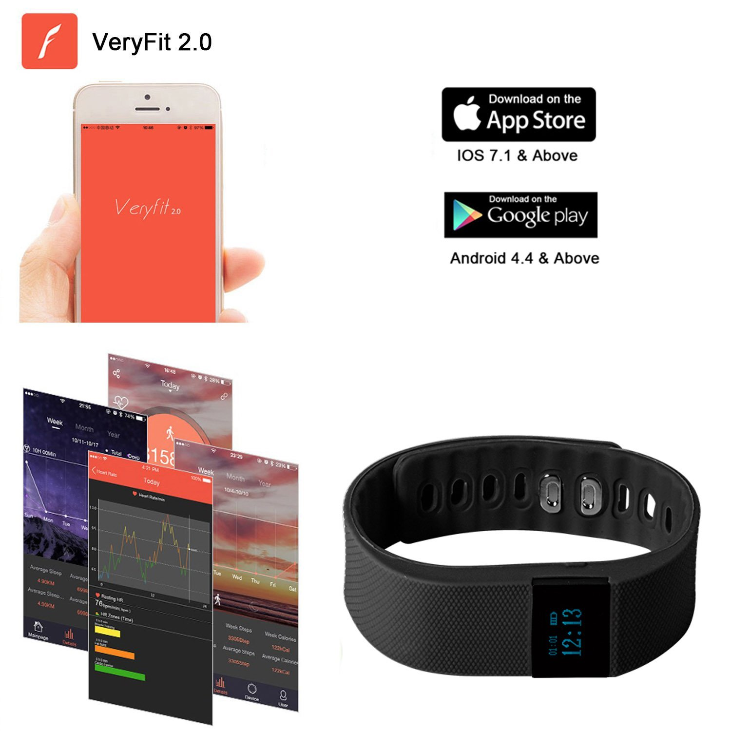 Sleep Monitor Calorie Counter Pedometer Sport Activity Tracker for Android and iOS Smart Phone Teslasz Fitness Tracker