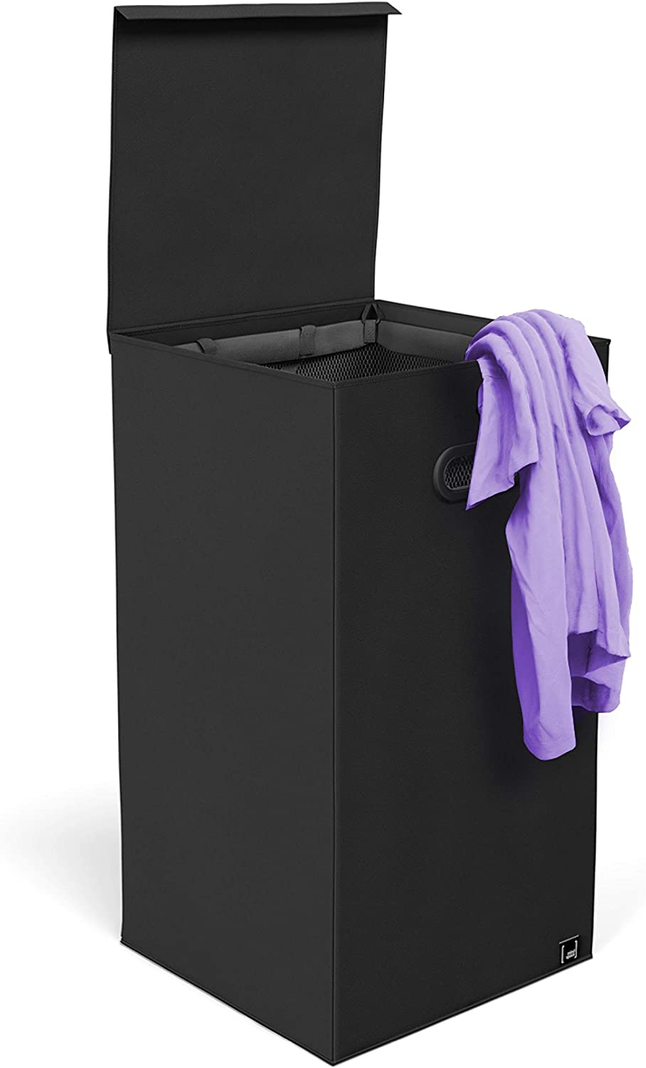 Mindspace Black Laundry Hamper with Lid and Mesh Liner - Foldable Mini Laundry Bin for Small Apartment, Bathroom, Dorm, Laundry Room - Oxford Collection