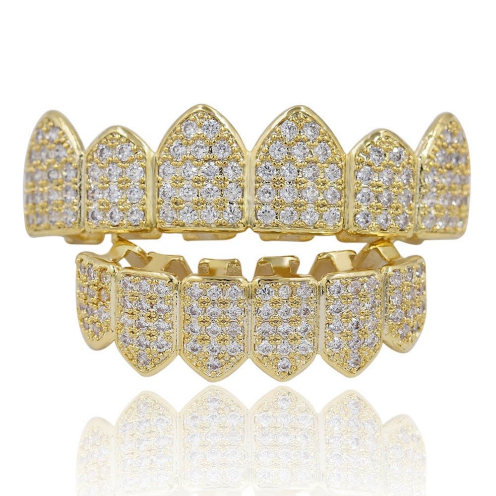 ICE BOX Punk Cubic Zirconia Gold Color Women/Men Teeth Grills Hiphop Rocker Hollow Caps Top&Bottom Fang Grills Set. hip hop diamond grill dental jewelry