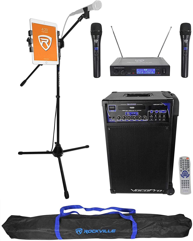 Wireless Mics+Tablet Stand Vocopro WARRIOR Karaoke Machine System CD-G DVD+ 2