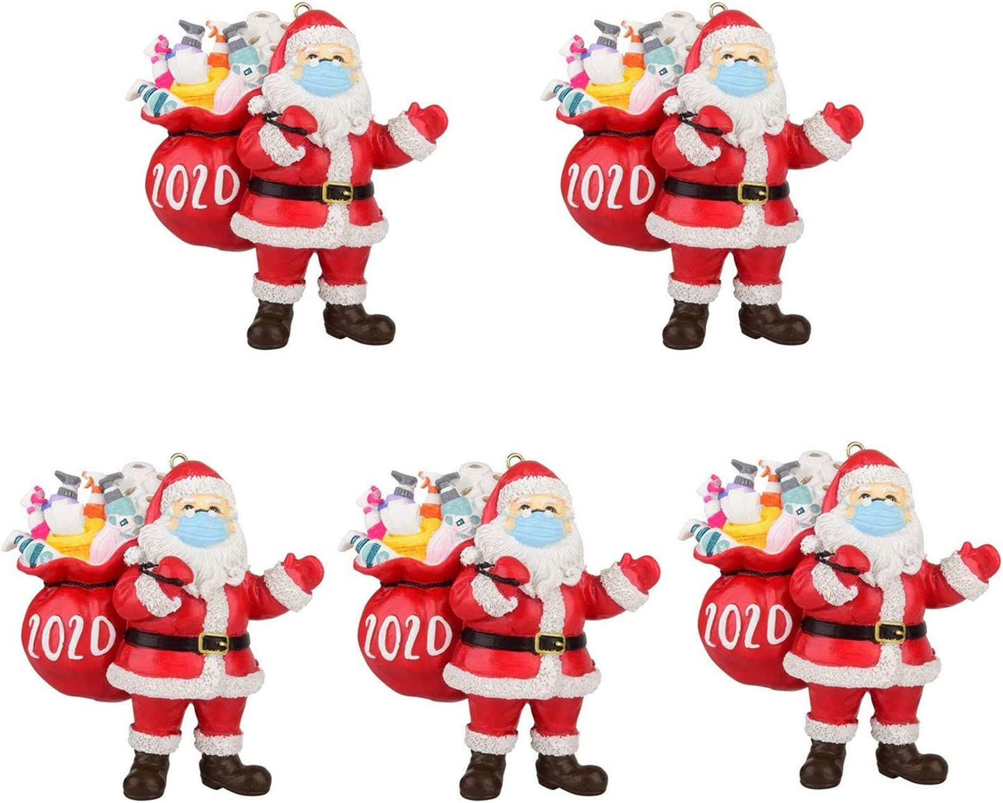 BLAU GRUN 2020 Christmas Ornament,Christmas Tree Decoration Pendant, Santa Claus with Face Cover Tradition Home Decor for Family (5pcs)