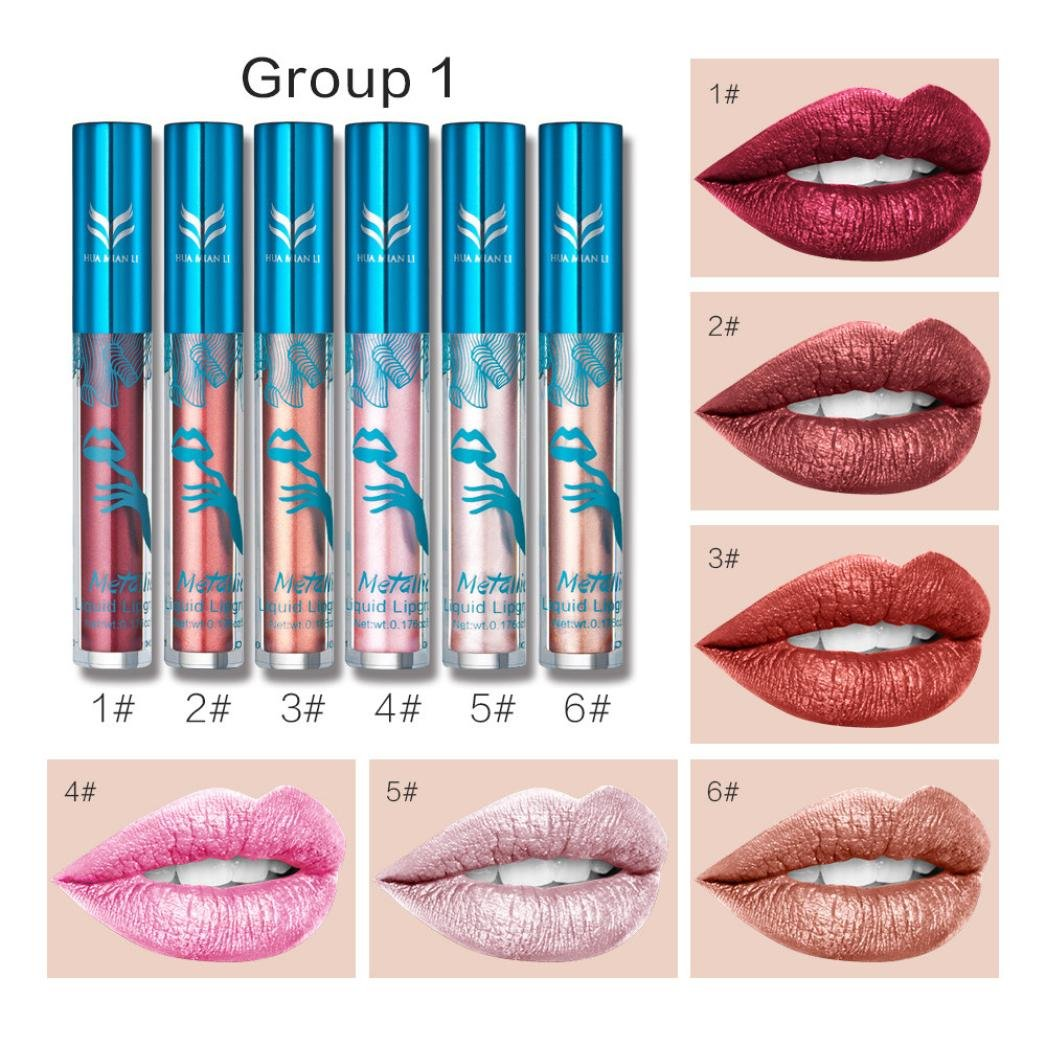 Métallique Lip Gloss Set 6pcs, OverDose Rouge à Lèvres Liquide Waterproof Brillant Ultra Shine Lip Gel Femme Beauty Maquillage (F)