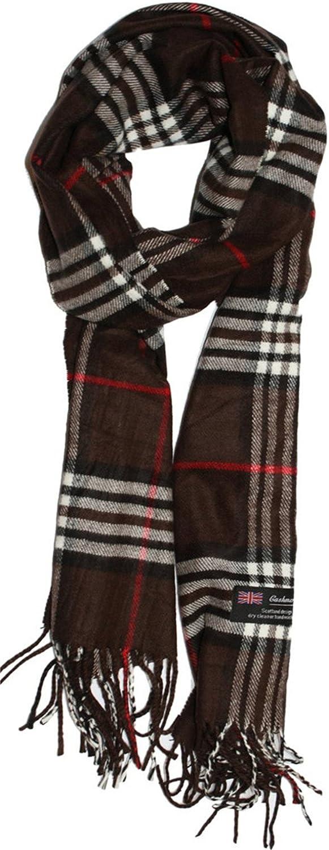 Wildestdream Mens Classic Cashmere Feel Winter Scarf in Rich Plaids