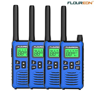 4 Pack Walkie Talkie for Kids FLOUREON Two Way Radio Long Range Walky Talky 22 Channel 3000M (MAX 5000M) USB Cable Charging for Outdoor Adventures Camping Hiking: Toys & Games