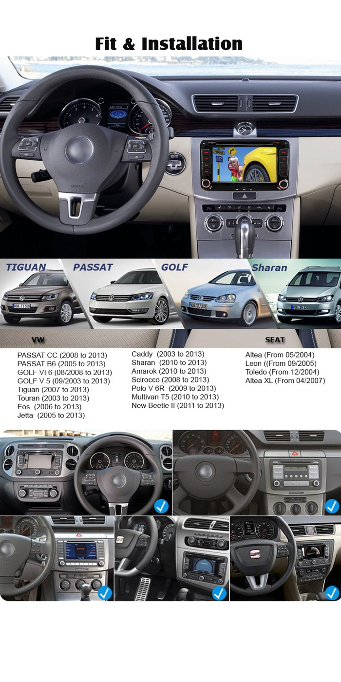 IAUCH 7 inch Android 5.1.1 Double 2 Din GPS Navigation Car Stereo CD DVD  Player AM FM Radio Sat Nav Head Unit for VW TOURAN PASSAT Scirocco Beetle  Golf MK5 ...