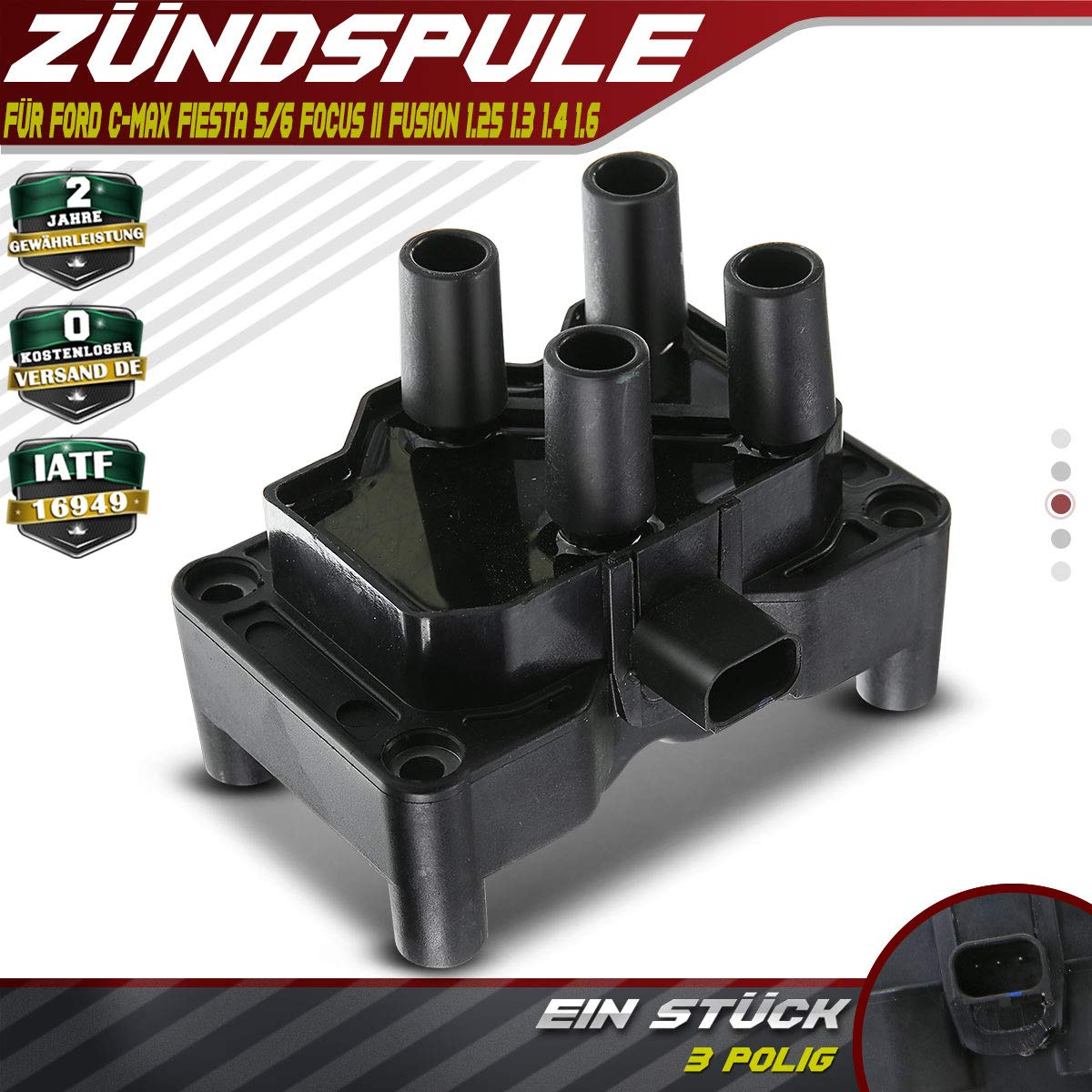 Z/ündspule f/ür C-Max DM2 Fiesta V JH/_ JD/_ VI CB1 CCN Focus C-Max II DA/_ HCP DP DA/_ Fusion JU/_ 2003-2012 1350562