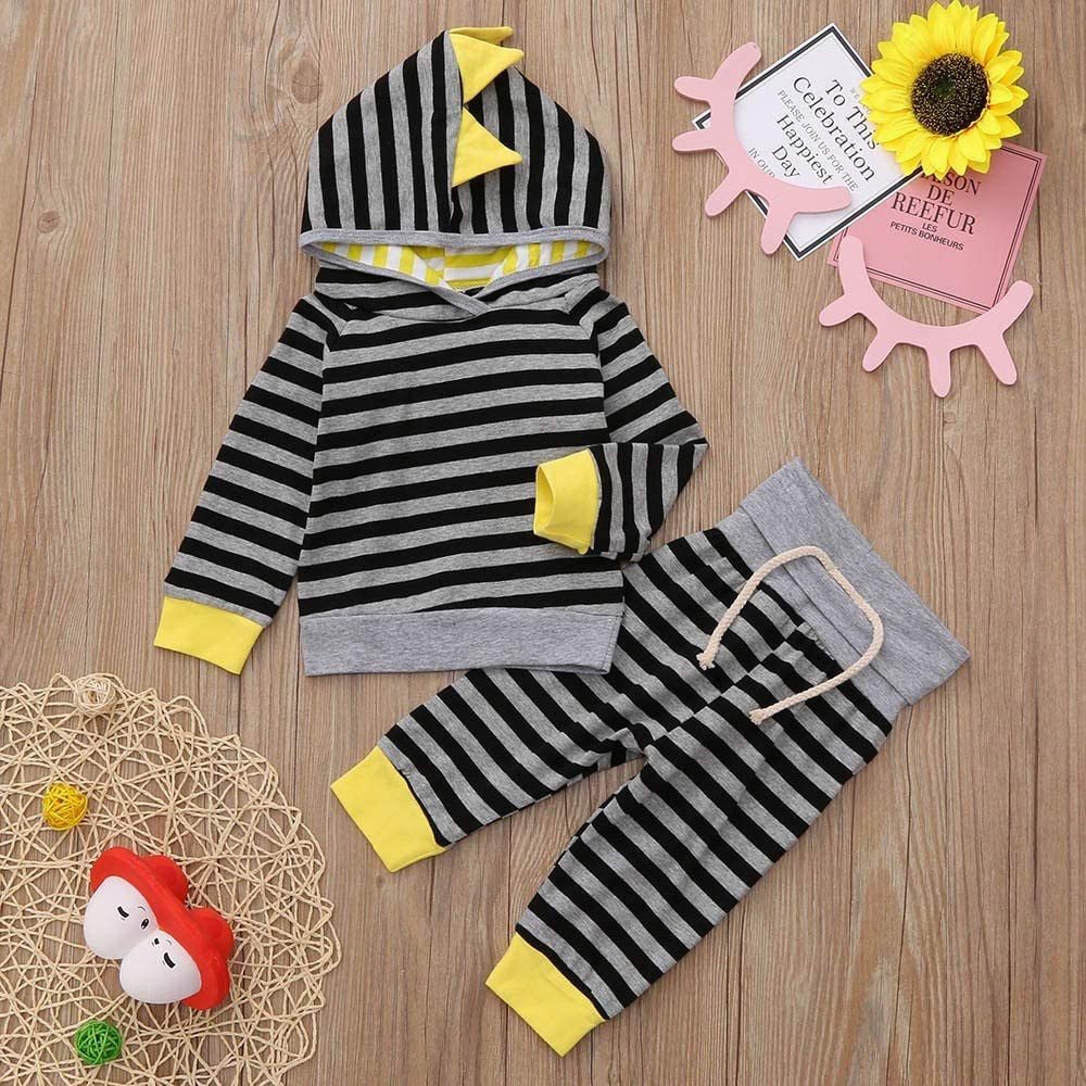 DIGOOD Toddler Baby Boys Girls Fall Winter 2Pcs Outfits Clothes,Cartoon Striped Hoodie Pullover Tops+Drawstring Pants Set