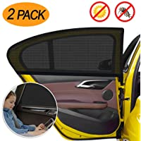 Car Window Sun Shade 2 Packs,【2020 Upgrade Version】 Breathable Elastic Mesh Car Rear Side Window Shade-Universal Fit for Most of Cars-Protect Kids Pet from The Sun-Cover Full Windows