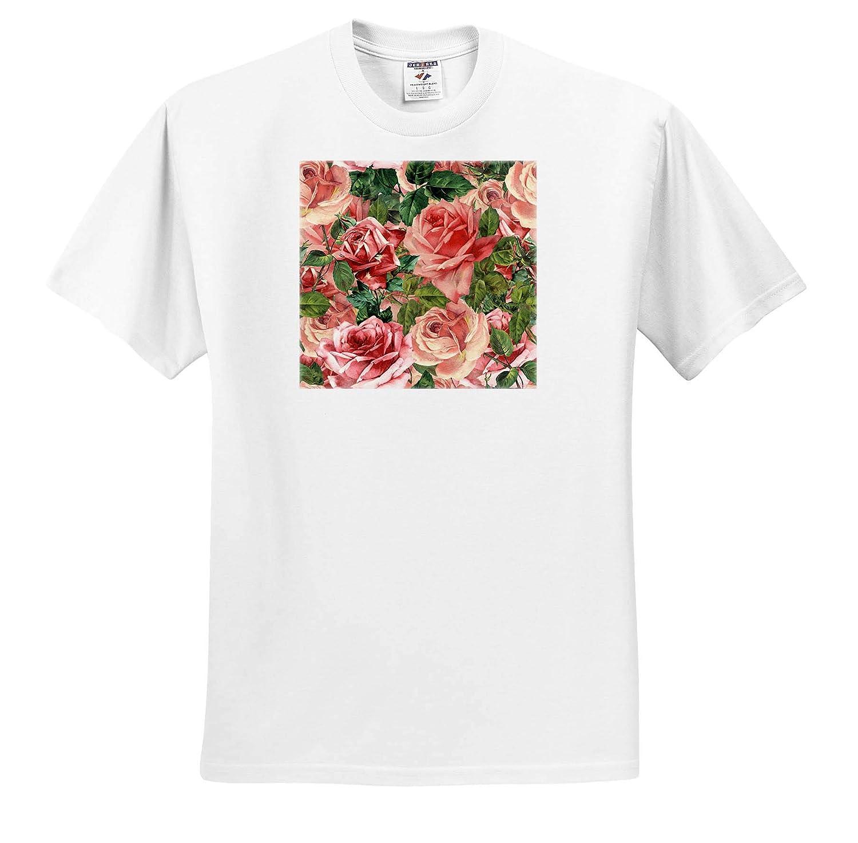 3dRose Uta Naumann Watercolor Pattern T-Shirts Retro Pink Roses Vintage Victorian Flower Pattern