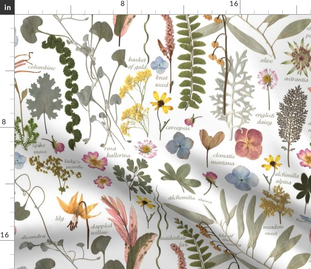 Spoonflower Fabric - Garden Text Botanical Flowers Greenery Leaves Plants Printed on Petal Signature Cotton Fabric by The Yard - Sewing Quilting Apparel Crafts Decor
