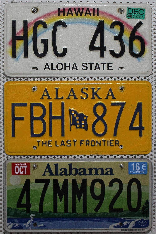 3 U S A Nummernschilder Komplett Als Set Drei Auto Kennzeichen Aus Den U S Staaten Alabama Hawaii Alaska License Plates Lot Metallschilder Kfz Kennzeichen Auto