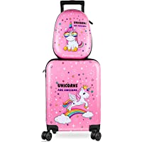 Kid Luggage Case and Backpack 18 Inch Suitcase with Spinner Wheels Hard Shell Travel Luggage 13 Inch Backpack Girl…