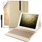Boriyuan iPad Pro 10.5ケース ワイヤレスBluetoothキーボードカバー 7色バックライト オートスリープ機能 手帳型 脱着式PUレザーケース 新しいApple iPad Pro 10.5インチ対応 (ゴールド)