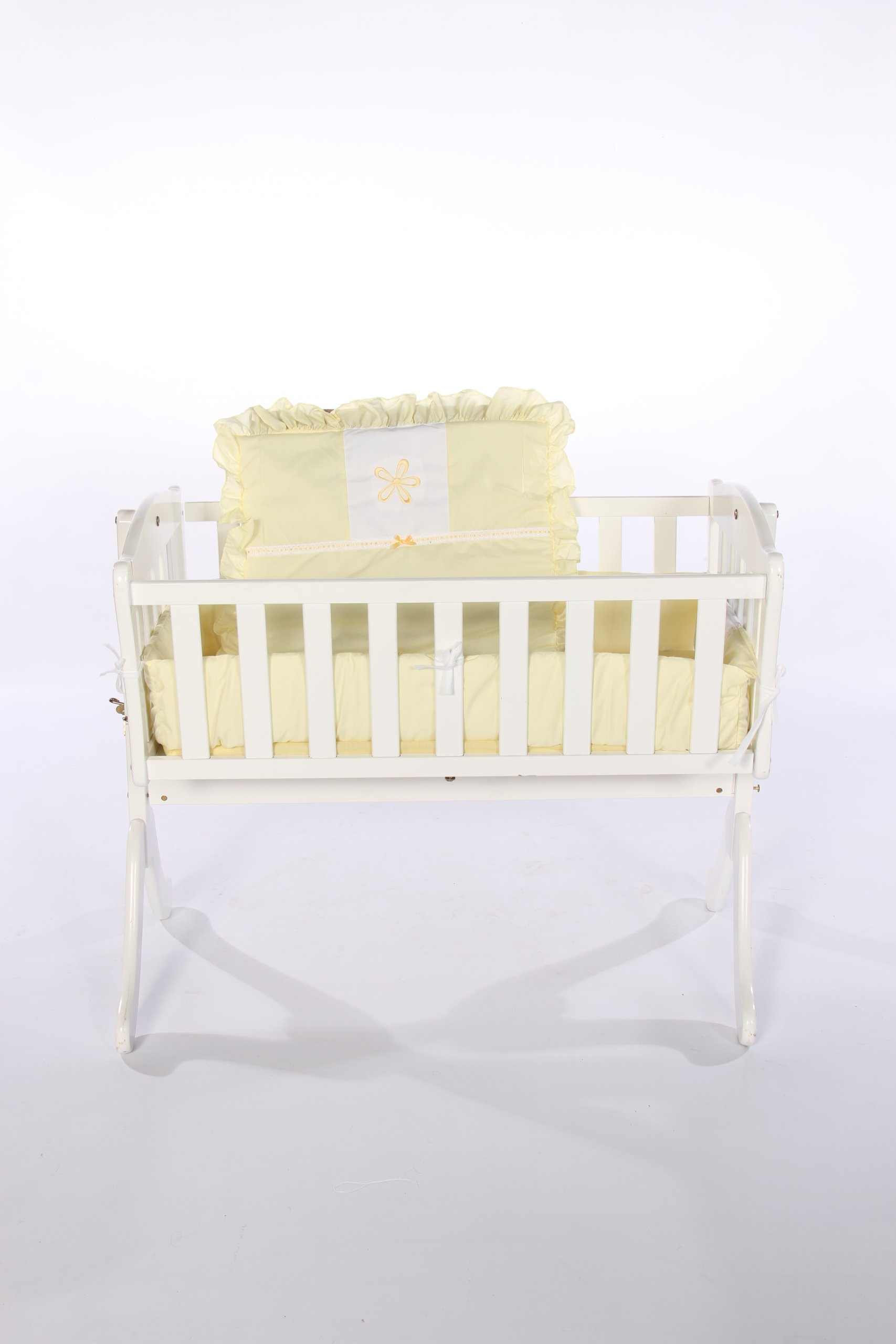 Baby Doll Bedding Solid with Flower Applique Cradle Bedding Set, Yellow