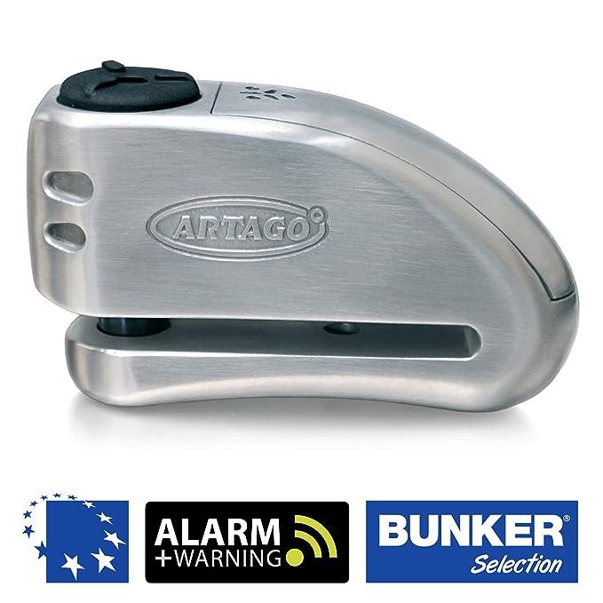 Artago 32 Candado antirrobo Moto Disco Alarma + Warning 120 db Alta Gama, ø15 Cierre saa, homologado Sra, Acero Inoxidable