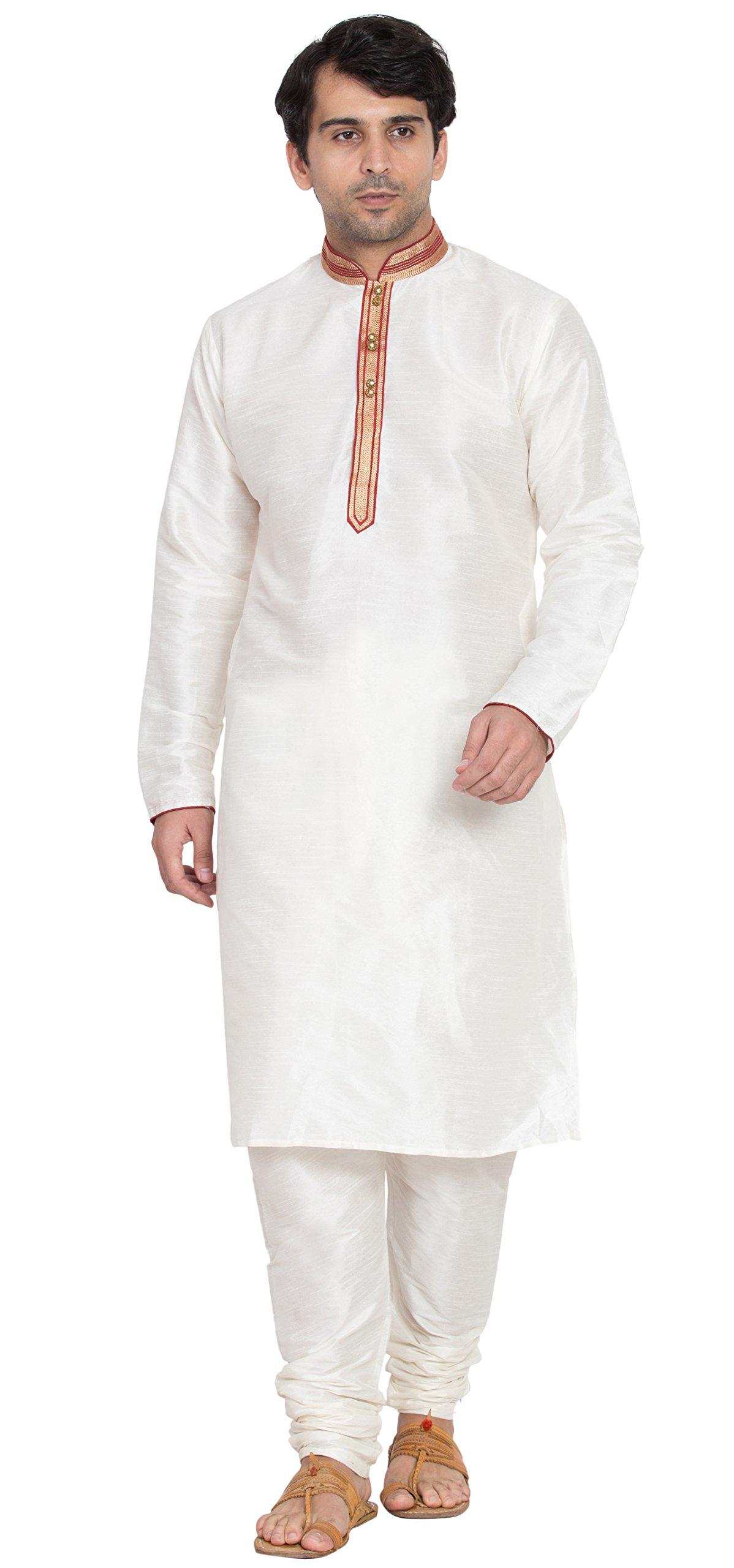 Offwhite Shirt Kurta Pajama Set for Men Indian Fashions Summer Dress -L