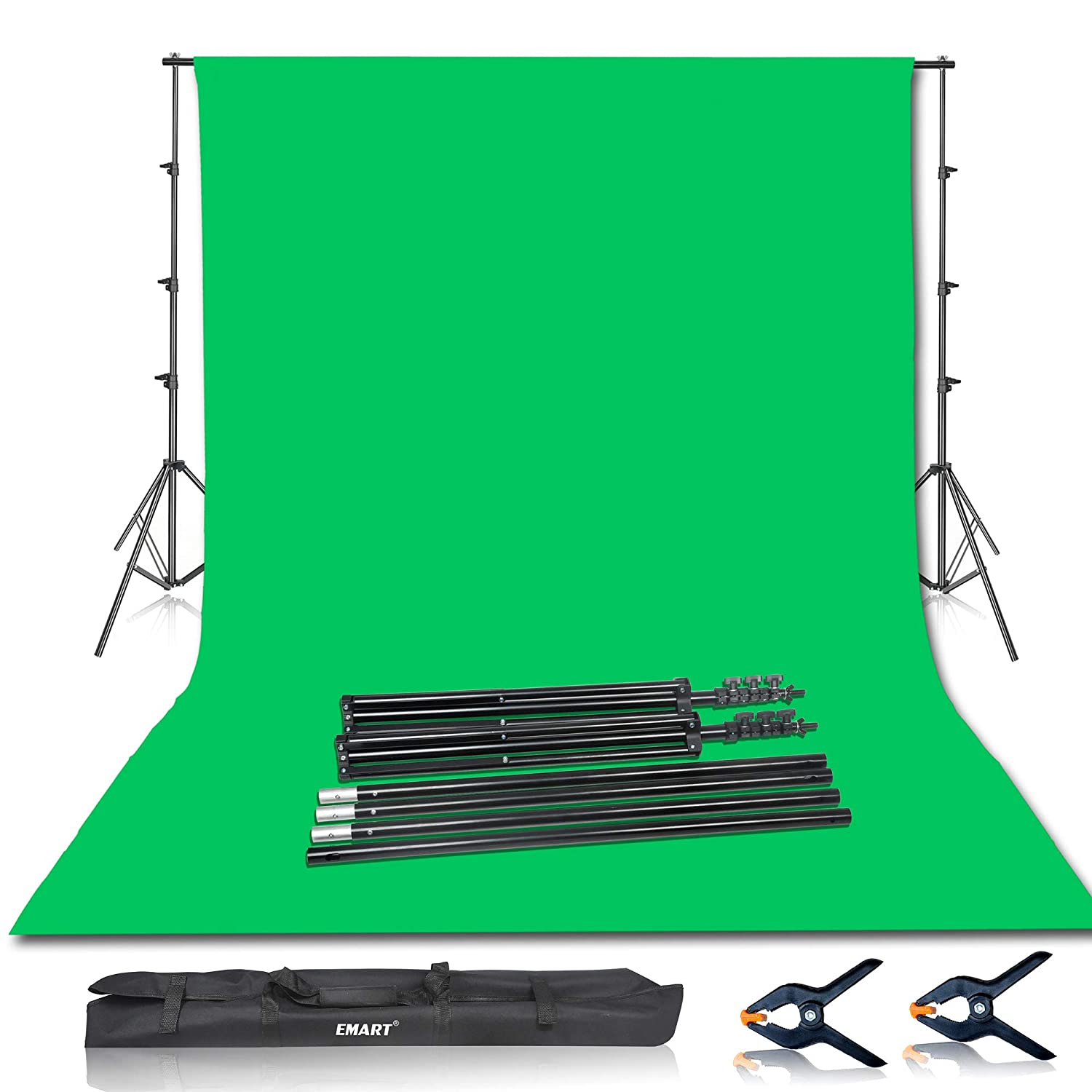 Emart Photo Video Studio 8 5 x 10ft Green Screen Backdrop Stand Kit,  Photography Background Support System with 10 x12ft 100% Cotton Muslin  Chromakey