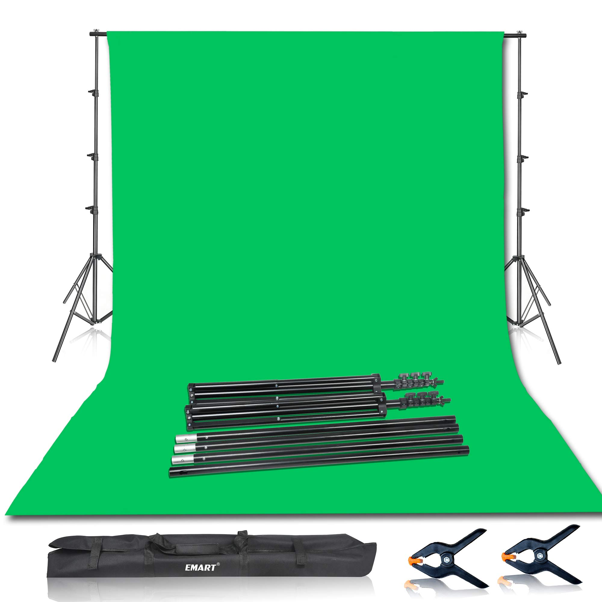 Emart Photo Video Studio 8.5 x 10ft Green Screen Backdrop Stand Kit, Photography Background Support System with 10 x12ft 100% Cotton Muslin Chromakey Backdrop by EMART