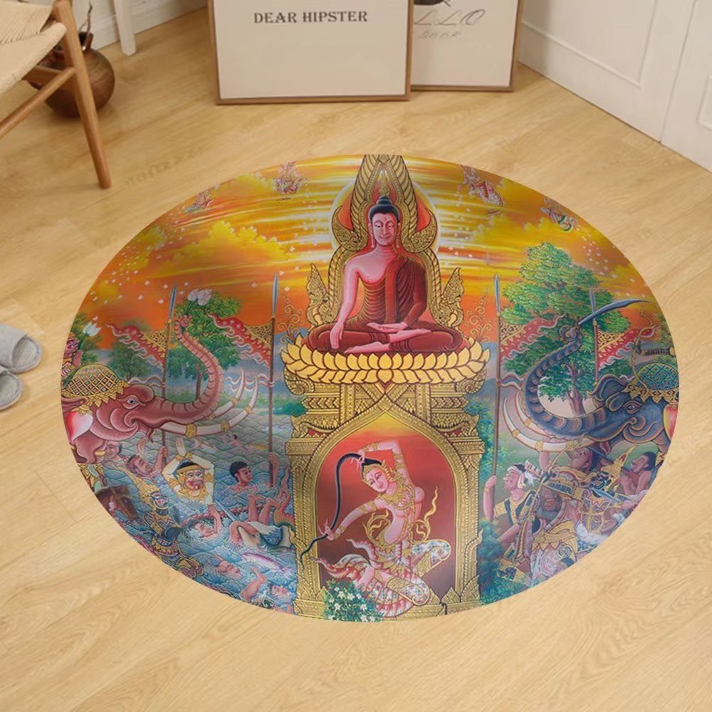 Gzhihine Custom round floor mat Art Thai Mural Mythology Buddhist Religion on in Wat Neramit Vipasama Dansai Loei Thailand by Gzhihine