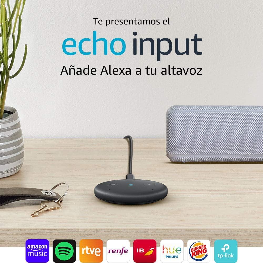 Echo Input, negro - Añade Alexa a tu altavoz, requiere un altavoz externo con puerto de 3,5 mm o Bluetooth