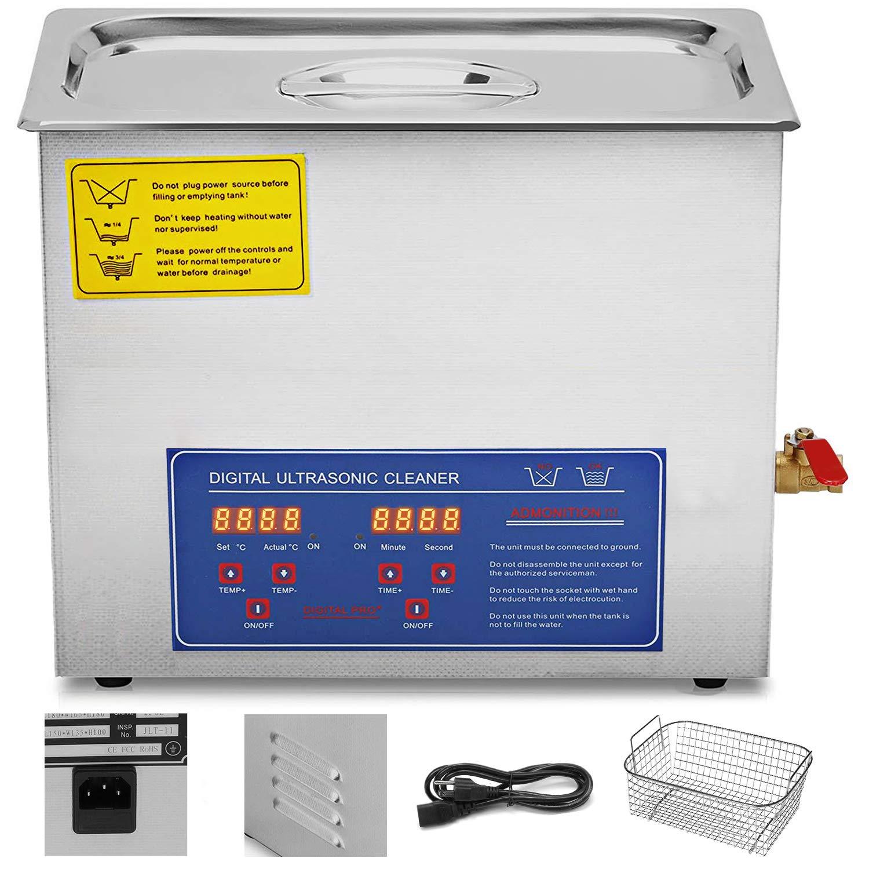 Techlifer Pulitore Ad Ultrasuoni Digitale 1.3L Ultrasuoni Dispositivo in Acciaio Inox 304 con Riscaldatore Timer