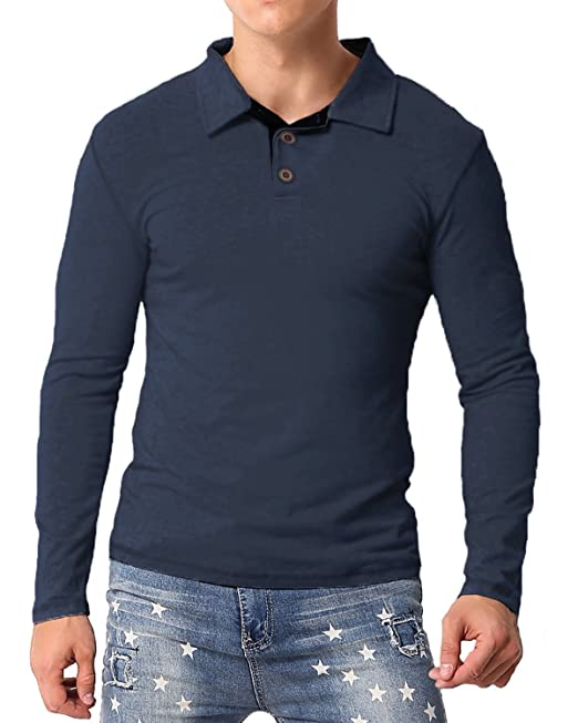 MODCHOK Hombre Camiseta Manga Larga Polo T-Shirt Top Tee Algodón Casual Clásico tncvGkDGa