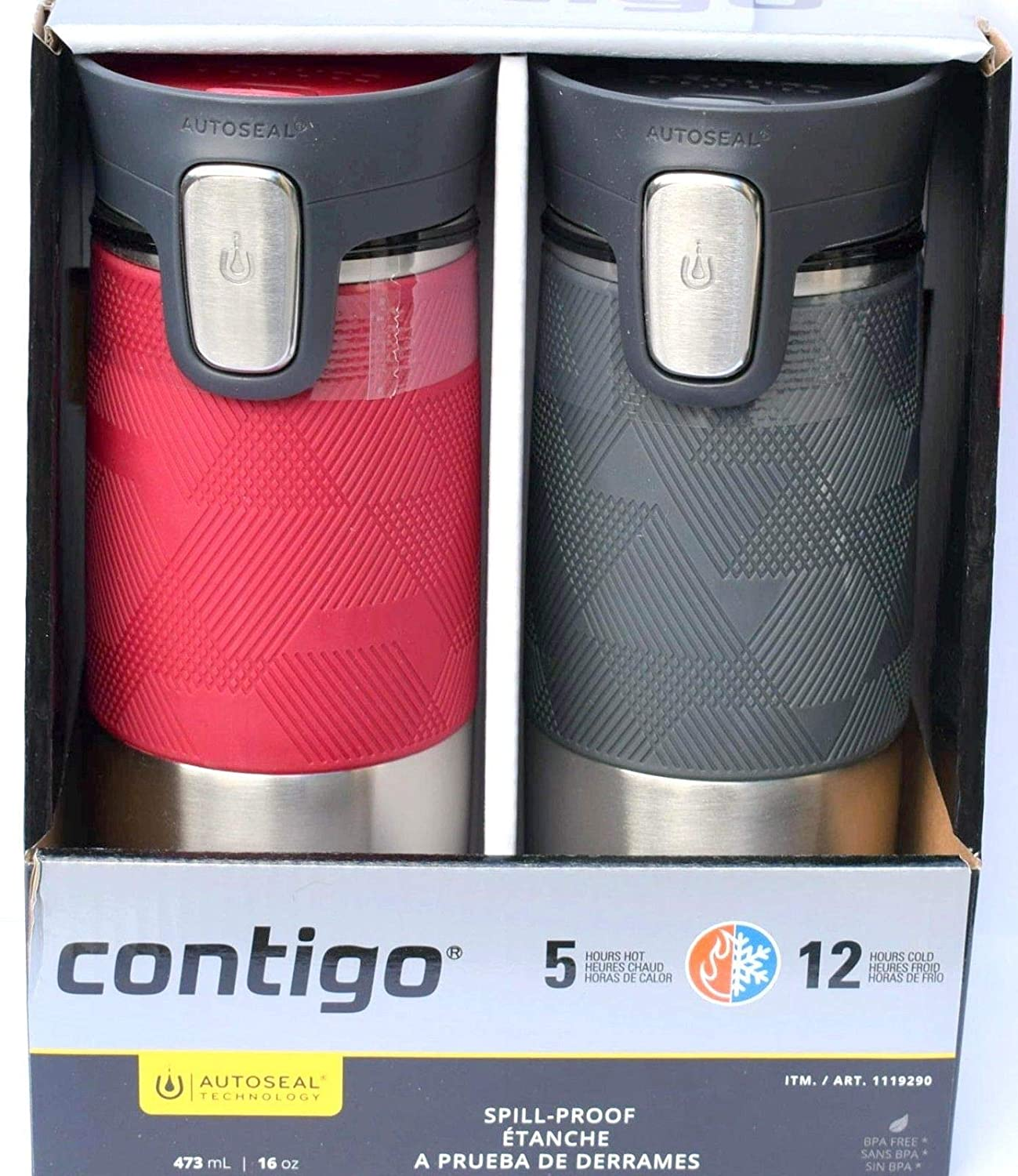 Contigo Autoseal Stainless Steel Spill-Proof Travel Mug, 473mL- Pinot Noir & Gray (2 Pack)