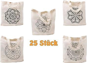 Cottonbagjoe Bolsa de algodón para pintar, animales zoológicos, mandalas con 5 diseños, asa corta, DIN A4,