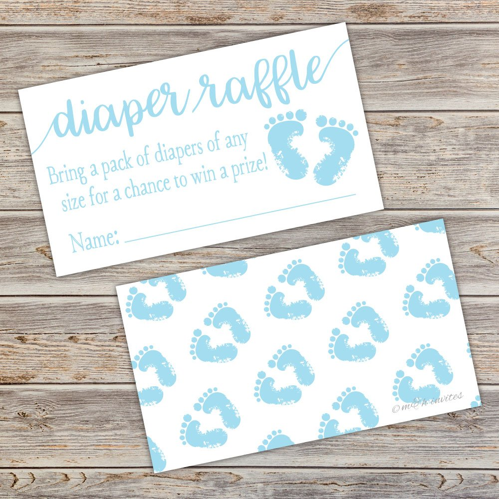 50 Blue Baby Feet Diaper Raffle Tickets - Boy Baby Shower Game by m&h invites (Image #5)
