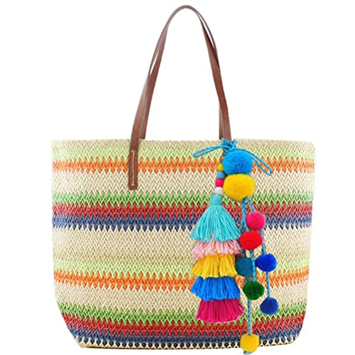 Donalworld Lady s Lace Colorful Stripes Straw Beach Bags Woven Shoulder Bag  Beige  Handbags  Amazon.com 7c29de9caa359