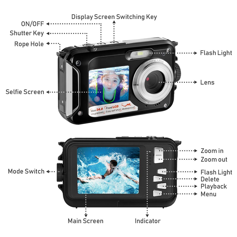 Amazon.com: Cámara digital impermeable Full HD 1080P cámara ...
