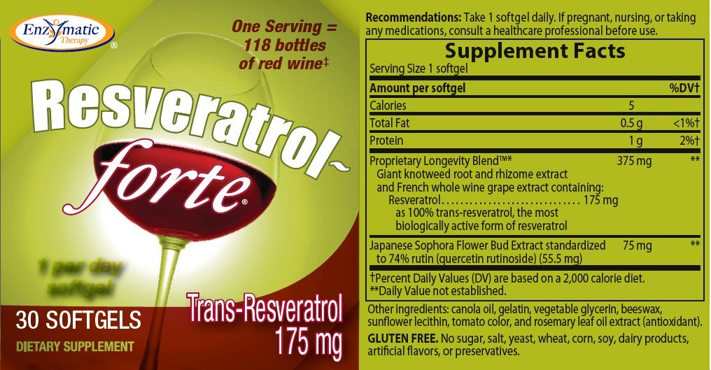 Enzymatic Therapy Resveratrol-Forte High Potency 30 softgels ( Pack of 8)
