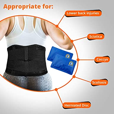 Abdomen Hip Back Sciatica XX-Large Adjustable Lower Back Brace Scoliosis Herniated Disc Waist Coccyx injuries Cold Ice Pack /& Heat Pack for Lower Back Pain to Support Lumbar