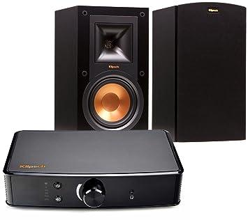 Klipsch R 15M Bookshelf Speakers And Powergate Amplifier Bundle Black