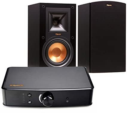 Klipsch R 15M Bookshelf Speakers And Powergate Amplifier Bundle Black