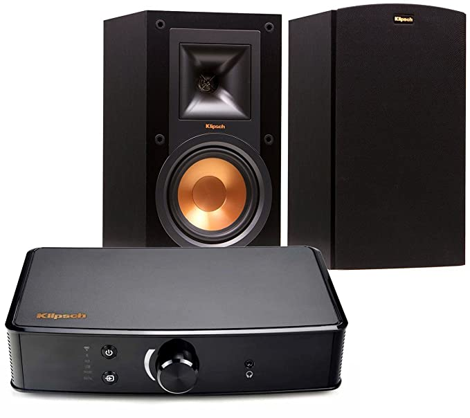 Klipsch R-15M Bookshelf Speakers and Powergate Amplifier Bundle, Black