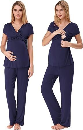 Zexxxy Mujer Ultra Suave Maternidad & Enfermería Pijama Conjunto El Embarazo Ropa de Dormir