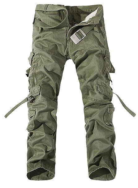 9bc6aba10c Panegy - Pantalones Cargo para Hombre con Multibolsillos con Cinturón para  Trabajo Viaje Deporte - 5 Colores 7 Tallas a Elegir  Amazon.es  Ropa y  accesorios