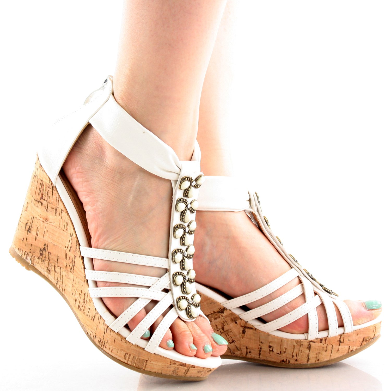 Top Moda Women's DS-6 Wedge Sandals B00HGIA2BG 7.5 B(M) US White