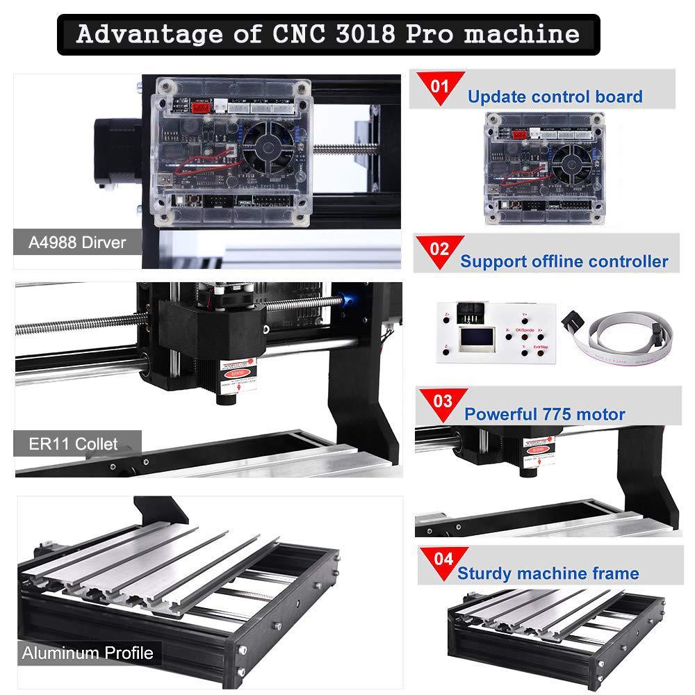 3 Achsen Kunststoff Acryl PCB PVC Holz Router Kit mit Offline Controller PCB Fl/äche 300x180x45mm GRBL Steuerung DIY Mini CNC Maschine Vogvigo 2-in-1 CNC 3018 Pro-M Fr/äsmaschine mit 10000mW Laser