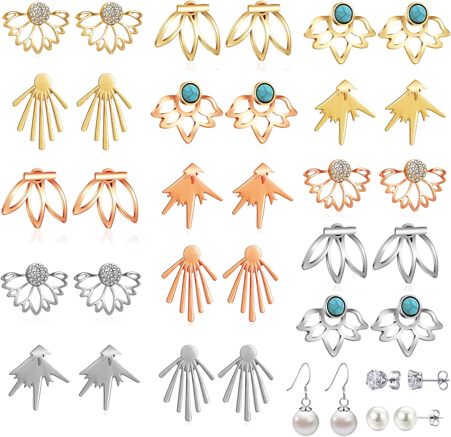 18 Pairs Multiple Dainty Lotus Flower Ear Jacket Earrings-Minimalism CZ Bar Turquoise Studs-White Rose Gold Plated Statement Chic Fashion Stud Earring Set New Year Christmas Gift for Teens Girl Women