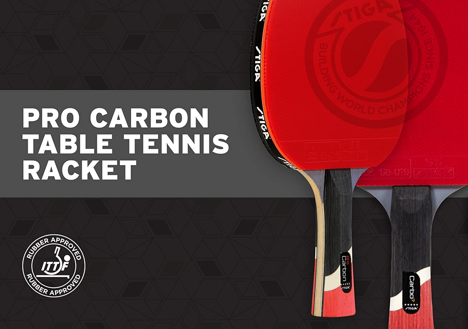 STIGA Pro Carbon Table Tennis Racket 2 Rackets