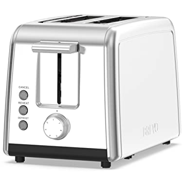 BREVO 2 Slice Toaster Brushed Stainless Steel and 7-Shade Control with Warming Rack, Defrost, Reheat