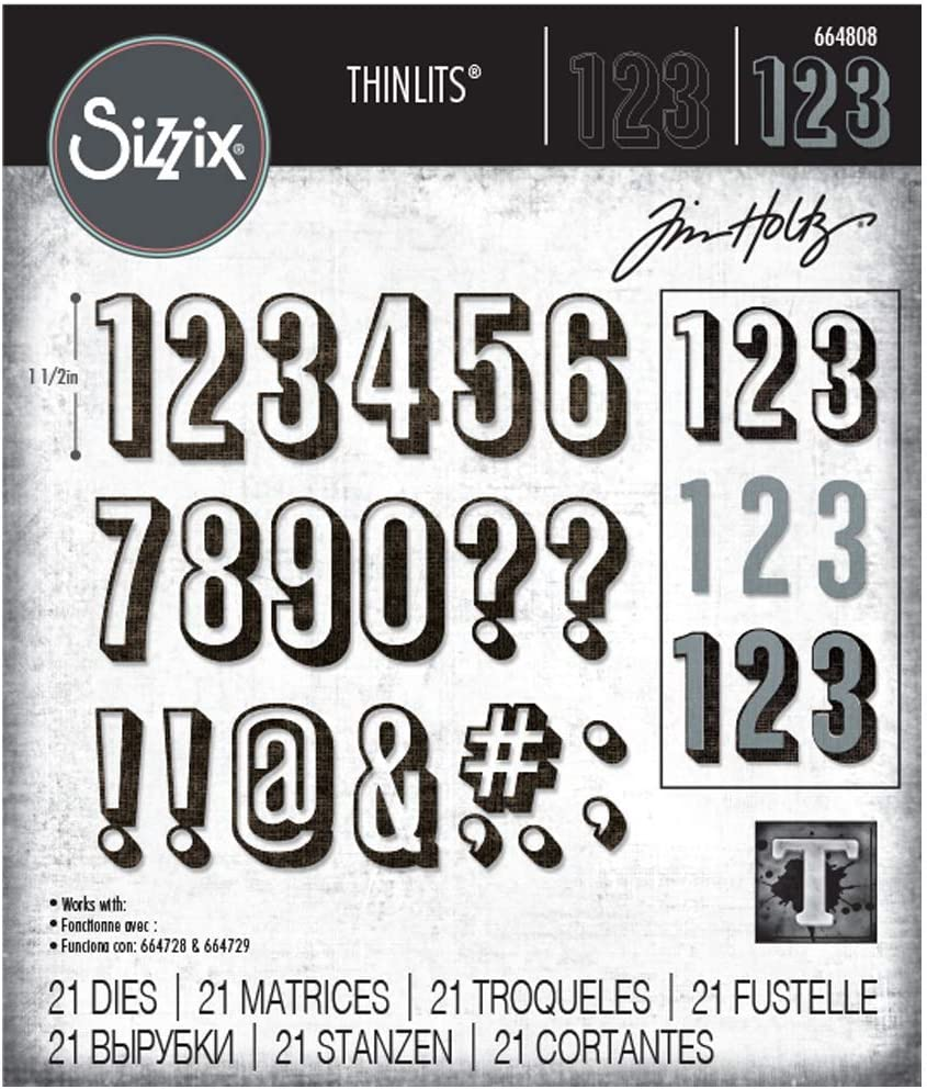 Taille unique Alpanum/érique et Chiffres Ombrag/és Sizzix Thinlits Die Set 21PK 664808 Alphanum/érique Ombr/és de Tim Holtz