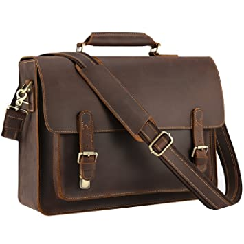 0af09c77996a Kattee Real Leather Shoulder Briefcase, 15.6