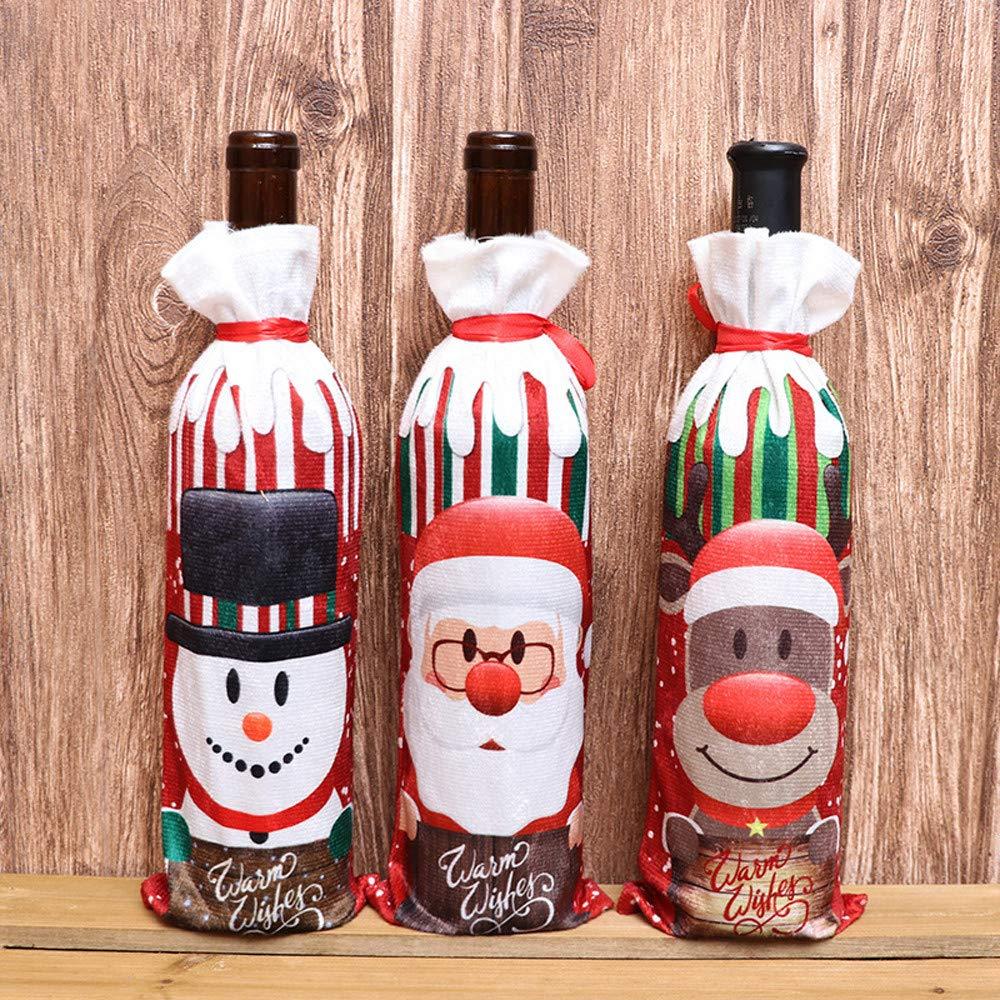 Bolsita para Vino tinto, diseño Papa Noel, Renos, Muñeco de Nieve para Decoración Navidad Cena Mesa: Amazon.es: Ropa y accesorios