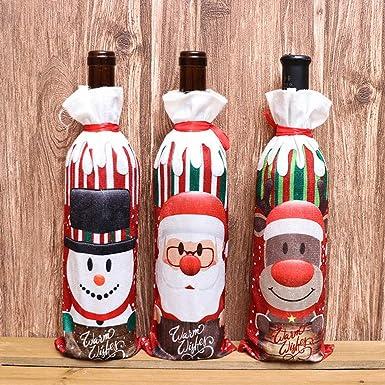Bolsita para Vino tinto, diseño Papa Noel, Renos, Muñeco de ...