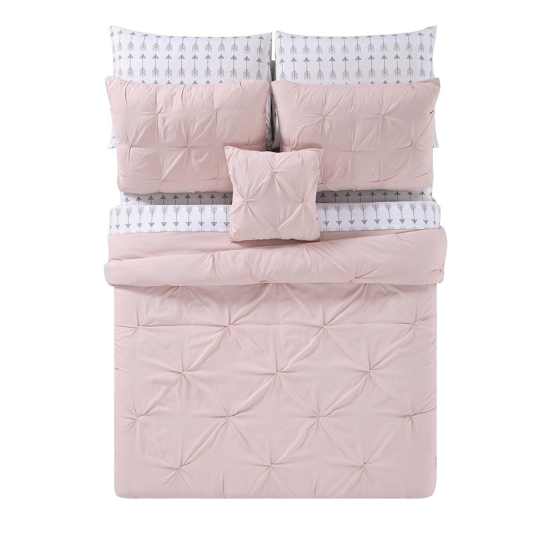 King Truly Soft Everyday BIB1969BSKAR-32 Pleated Bed in a Bag Arrow Blush