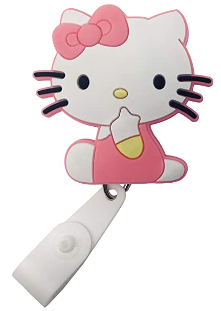c0bbd77e4 Amazon.com : Cartoon Retractable Badge Reel - Holder for ID and Name Tag  with Belt Clip, IMPROVED REEL & STRAP (Hello Kitty) : Office Products